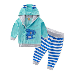 casual winter spring warm hooded zipper long-sleeve outfits baby kid clothes