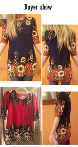 Fashion women blouse shirt plus size 4XL Chiffon red women's clothing o-neck floral Print feminine tops blusas