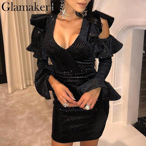Sequins ruffles bodycon black sexy dress Women v neck off shoulder flare sleeve mini dress Party spring elegant dress