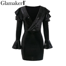 Load image into Gallery viewer, Sequins ruffles bodycon black sexy dress Women v neck off shoulder flare sleeve mini dress Party spring elegant dress