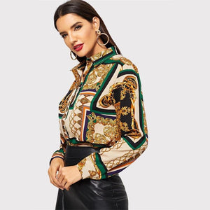Scarf Print Curved Vintage Satin Blouse Women Clothing 2019 Spring Fashion Long Sleeve Shirt Ladies Tops And Blouses