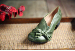 Womens Green Pumps Genuine Sheepskin Leather Ladies 5CM High Heels Shoes Handmade Women Shoes Bowknot Comfortable