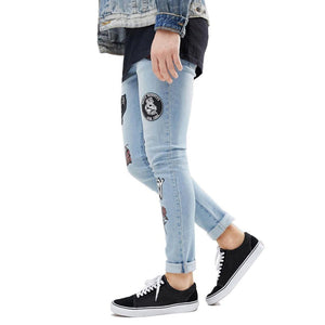 Men's Skinny Embroidery Fashion Casual Hip Hop Pencil Printed Jeans