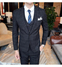 Load image into Gallery viewer, Burgundy Black Blue Plaid Suit Men Slim Fit Groom Wedding Suits For Men 3 Pcs High Quality Dress Business Suits
