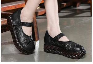 2019 Spring Handmade Shoes Platform Wedges Women Pumps Fretwork Cut Out Genuine Leather Women Casual Shoes High Heels - moonaro