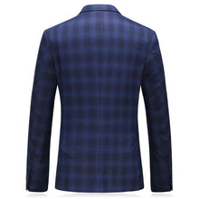 Load image into Gallery viewer, Navy Royal Blue Mens Plaid Blazer Stylish Mens Blazers Formal Slim Fit Man Blazer Casual Suit Jacket 5XL Terno Masculino