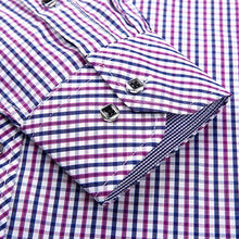 Load image into Gallery viewer, Men's Regular-fit Contrast Plaid Checkered Dress Shirt Patch Chest Pocket Long Sleeve Smart Casual Work Office Gingham Shirts
