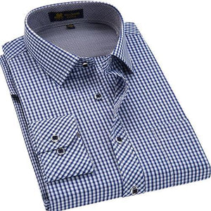 Men's Regular-fit Contrast Plaid Checkered Dress Shirt Patch Chest Pocket Long Sleeve Smart Casual Work Office Gingham Shirts
