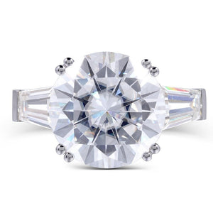 14K White Gold 8ct Carat 13mm Diameter F Color Moissanite Three Stone Engagement Ring for Women Wedding - moonaro
