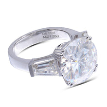 Load image into Gallery viewer, 14K White Gold 8ct Carat 13mm Diameter F Color Moissanite Three Stone Engagement Ring for Women Wedding - moonaro