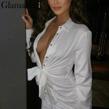 Load image into Gallery viewer, Sexy white pleated buttons bodycon dress Women long sleeve mini dress elegant Female casual party club dress vestidos