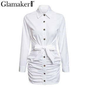Sexy white pleated buttons bodycon dress Women long sleeve mini dress elegant Female casual party club dress vestidos - moonaro