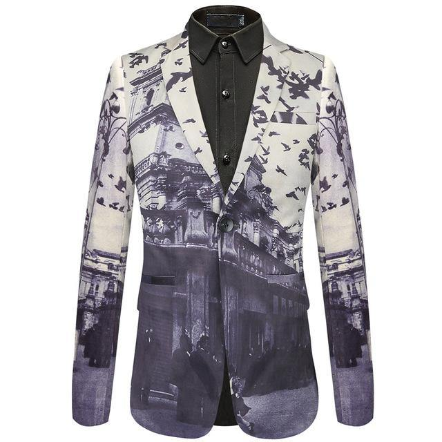 Autumn Man Blazer Bird Castle Pattern Italian Style Wedding Prom Wear Brand Men Casual Blazers Jacket - moonaro