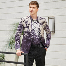 Load image into Gallery viewer, Autumn Man Blazer Bird Castle Pattern Italian Style Wedding Prom Wear Brand Men Casual Blazers Jacket - moonaro