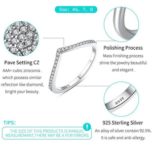 Authentic Real 925 Sterling Silver Wish Ring Stackable CZ Crystal Finger Rings For Women Lady Wedding Party Fashion Jewelry Gift - moonaro