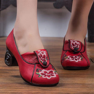 Wedding Embroidered Genuine  Leather Shoes Woman New High Heels 2019 Elegant Fashion Shoes Women High Heel Shoes