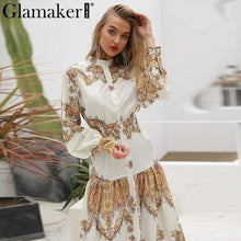 Load image into Gallery viewer, White paisley print elegant vintage women dress Sexy boho maxi Summer beach dresses 2018 split long casual dress festa