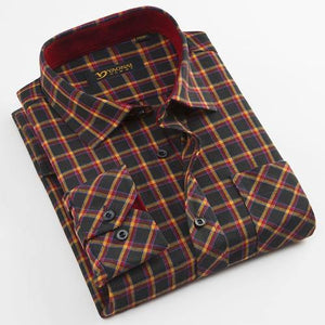 Men's Long Sleeve Brushed Plaid Dress Shirt Single Patch Pocket Comfortable Work Casual Regular-fit Classic Checked Tops Shirts