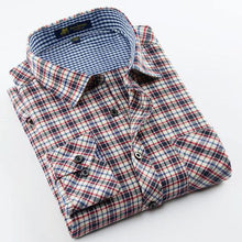 Load image into Gallery viewer, Men's Long Sleeve Brushed Plaid Dress Shirt Single Patch Pocket Comfortable Work Casual Regular-fit Classic Checked Tops Shirts