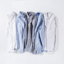 Load image into Gallery viewer, Men's Standard-fit Oxford Cotton Dress Shirts Single Pocket Solid/Plaid/Striped Button-down Collar Long-sleeve Casual Tops Shirt