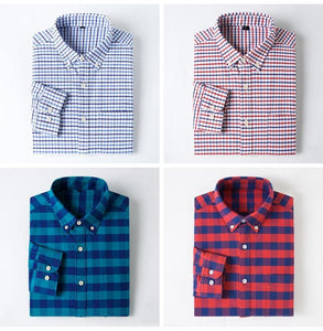 Men's Standard-fit Oxford Cotton Dress Shirts Single Pocket Solid/Plaid/Striped Button-down Collar Long-sleeve Casual Tops Shirt