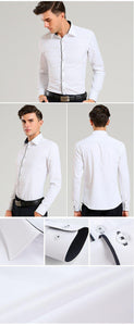 Men's Long-sleeve Fine-twill Solid Basic Dress Shirts Regular-fit Black Piping on Collar&Placket Smart Casual Social Tops Shirt