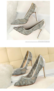 Silk Thin High Heel Pumps Spring Summer Women High Heels Shallo Wcutouts Fur Woman Sweet Party Wedding Ladies Shoes
