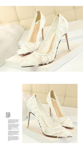 Silk Thin High Heel Pumps Spring Summer Women High Heels Shallo Wcutouts Fur Woman Sweet Party Wedding Ladies Shoes - moonaro