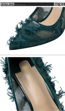 Load image into Gallery viewer, Silk Thin High Heel Pumps Spring Summer Women High Heels Shallo Wcutouts Fur Woman Sweet Party Wedding Ladies Shoes
