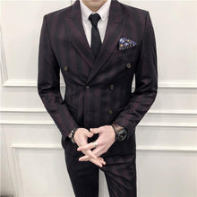Load image into Gallery viewer, Men Double Breasted Suit 3 Pieces Men Striped Suits Slim Fit Navy Blue Burgundy Wedding Costume Homme Luxe Party Prom Wear