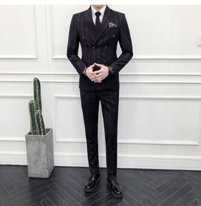 Men Double Breasted Suit 3 Pieces Men Striped Suits Slim Fit Navy Blue Burgundy Wedding Costume Homme Luxe Party Prom Wear