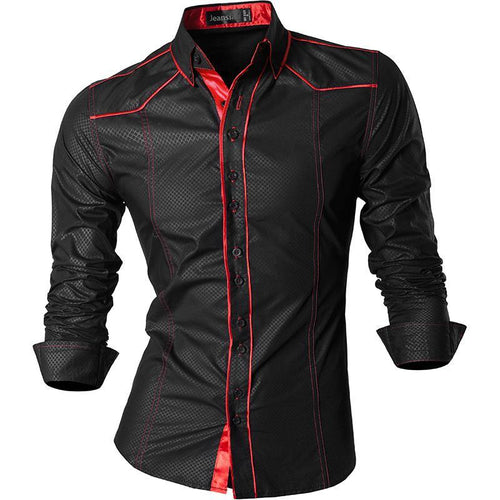 Men Casual Shirt Long Sleeve Casual Slim Fit Male Shirts