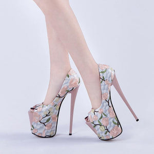 Super High Heels Pumps Women Fashion Style Peep Toe Platform Shoes Woman Party Pumps 20-22cm Heels