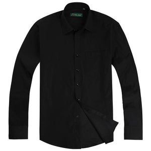 Men's Long Sleeve Regular-fit Solid Basic Dress Shirt Patch Single Chest Pocket Button Closure Formal Black Work Office Shirts