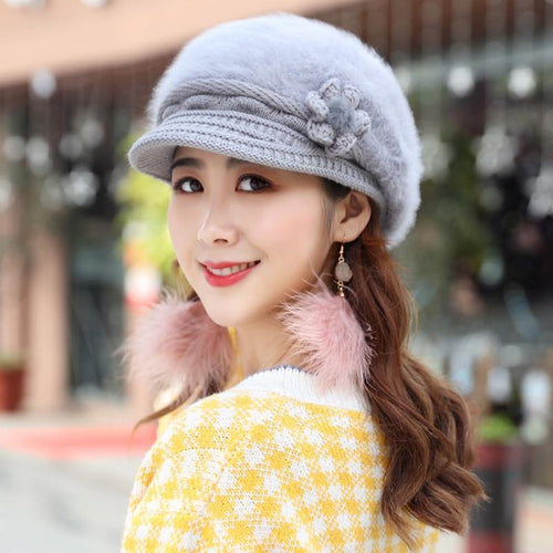 Winter Beret Hat Rabbit Fur Hats for Women Ladies Warm Knitted Hat Casual Newsboy Beret Cap Solid Female Beret