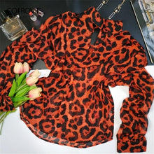 Load image into Gallery viewer, Keyhole Neck Cutout Leopard Chiffon Blouse Shirt Women 2019 Spring Vintage Long Sleeve Shirts Ladies Tops And Blouses