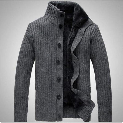 collar winter warm thick knitting men jacket, long sleeved sweater men cardigan sweater for men