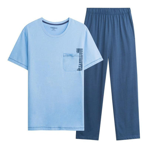 Men's Pajamas Set Sleepwear pajamas Soft cotton round collar T-shirts trousers For male