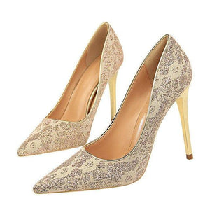 New Lace Thin High Heel Pumps Women High Heels Shallow Appliques Bling Woman Sexy Sweet Party Wedding Ladies Shoes