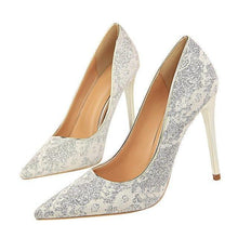 Load image into Gallery viewer, New Lace Thin High Heel Pumps Women High Heels Shallow Appliques Bling Woman Sexy Sweet Party Wedding Ladies Shoes
