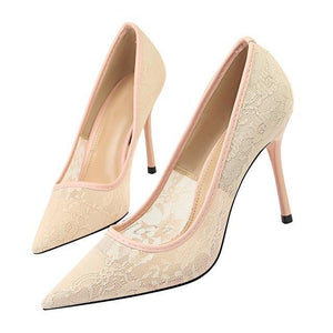 New Lace Thin Heel Pumps women shoes high heel Shallow Embroider Woman Sexy Party Wedding Ladies Shoes woman shoes - moonaro