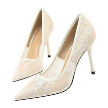 Load image into Gallery viewer, New Lace Thin Heel Pumps women shoes high heel Shallow Embroider Woman Sexy Party Wedding Ladies Shoes woman shoes - moonaro