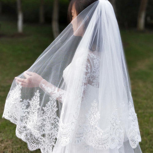 2019 Real Photos 2 Layers Sequins Lace Cathedral Woodland Wedding Veils with Comb Long White Ivory 2 T Bridal Veils - moonaro