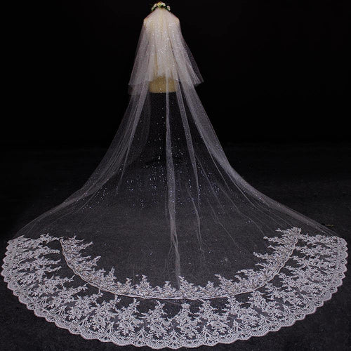Real Photos Two Layers Lace at Bottom Sequined Tulle Wedding Veil Ivory 2 T Bridal Veils
