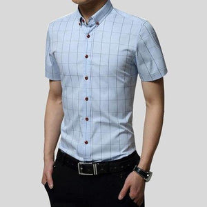 Summer Short Sleeve Business Casual Men Shirt Fit Slim Social Cotton Grid Homme  Camisas Plus Size Male Shirt - moonaro
