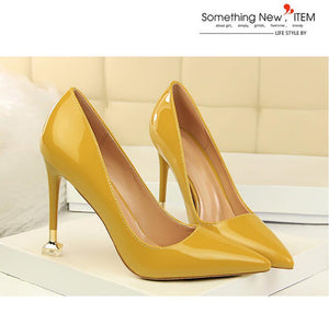 Fashion Contracted With Patent Leather High Heel Shallow Mouth Pointed Sexy Nightclub Show women shoes high heel