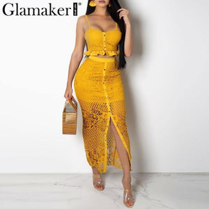 Hollow out sexy yellow long dress Women lace ruffle button sundress Bodycon summer party dress night vestidos de festa
