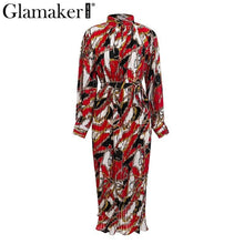 Load image into Gallery viewer, Pleated print button maxi dress Women sexy loose long sleeve summer vintage dress elegant Female boho beach club dress
