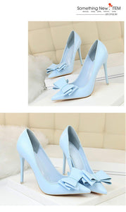 Thin High Heel Pumps Spring Sweet Summer Women High Heels Shallow Butterfly-knot Woman Party Wedding Ladies Shoes