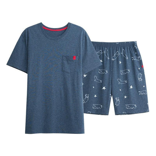 Sleepwear Casual Men's Sleep Shorts Pajamas Set Cotton Tops Tee & Shorts
